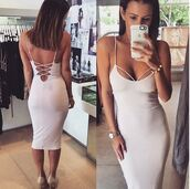 dress,bodycon,criss cross dress,midi dress,nude,lace up,white dress,sexy dress