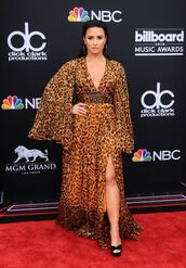 dress,sandals,sandal heels,platform sandals,demi lovato,plunge dress,belt,leopard print,billboard music awards,red carpet dress,shoes