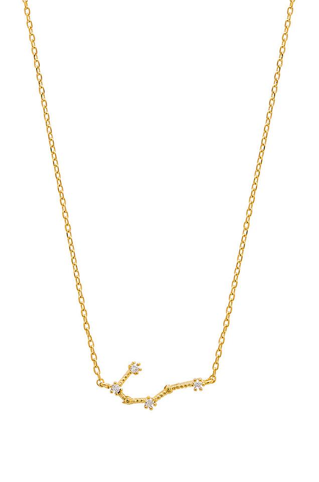 Wanderlust + Co Gemini Zodiac Necklace in gold / metallic
