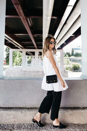 dress,shoes,tumblr,white dress,mini dress,sleeveless,sleeveless dress,pants,black pants,wide-leg pants,black shoes,bag,work outfits,office outfits