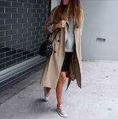 trench coat,beige trench,shoes,beige shoes,handbag,black handbag,sweater,grey sweater,coat,bag