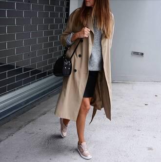 trench coat beige trench shoes beige shoes handbag black handbag sweater grey sweater coat bag