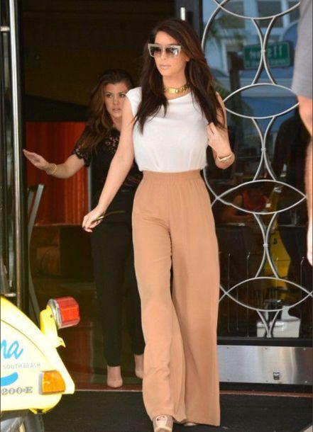 pants kim kardashian camel wide-leg pants
