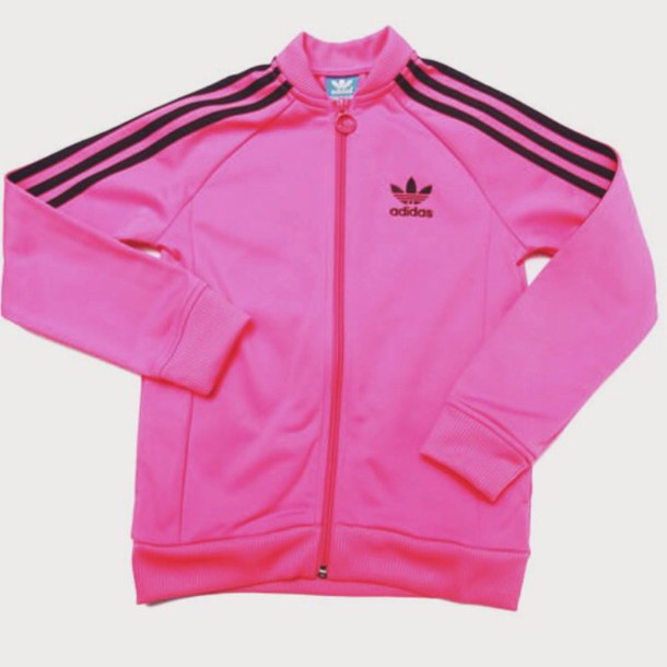 jacket pink adidas black track
