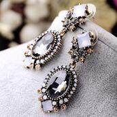 jewels,hot,trendy,big earrings,cute,swag,chic,statement earrings,drop earrings,black and white,gold earrings,black earring,earrings