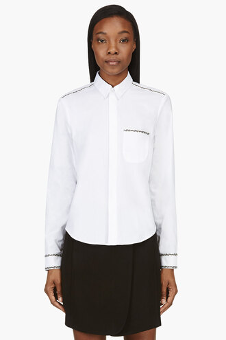 white ribbon women embroidered trim oxfords blouse clothes shirt