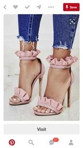 shoes,pink,heels,open toes,pretty,buckle  heals,baby pink,ruffle heels,high heels,ruffle,pink high heels,girly