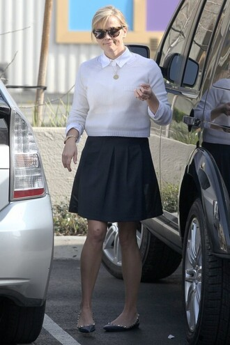 skirt reese witherspoon sweater flats shoes skater skirt white sweater sunglasses black skirt red lime sunday