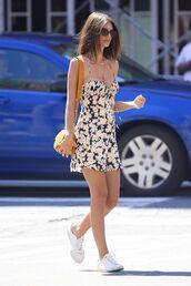 dress,floral dress,mini dress,sneakers,bag,sunglasses