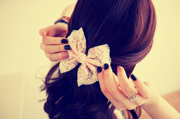 jewels hair bow lace