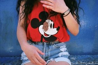 red shirt t-shirt mickey mouse high waisted shorts denim shorts