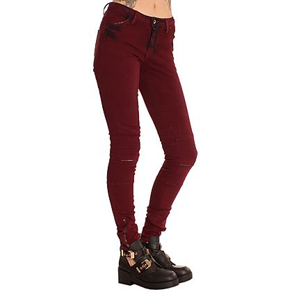 VILA Burgundy Cleavo Skinny Jeans