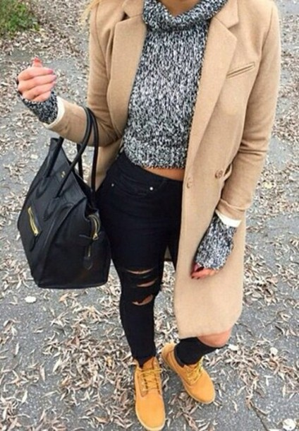 jeans ripped jeans coat timberlands black jeans sweater grey black purse fall outfits