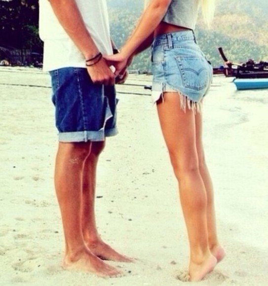 body skinny young love tumblr shorts jean shorts, light wash, high waisted High waisted shorts beach summer outfits cute love girlfriend boyfriend date holdinghands tank top tan hot sexy legs for miles hair hot body