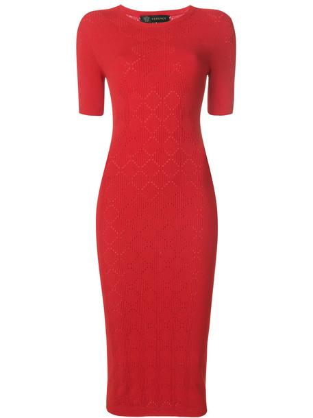 VERSACE dress women knit red