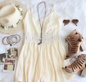 dress,white,coachella,white dress,coachella dress,coachella style,shoes,jewels,hat,beige dress,yellow dress,summer dress,cute dress,romper,crochet,beige