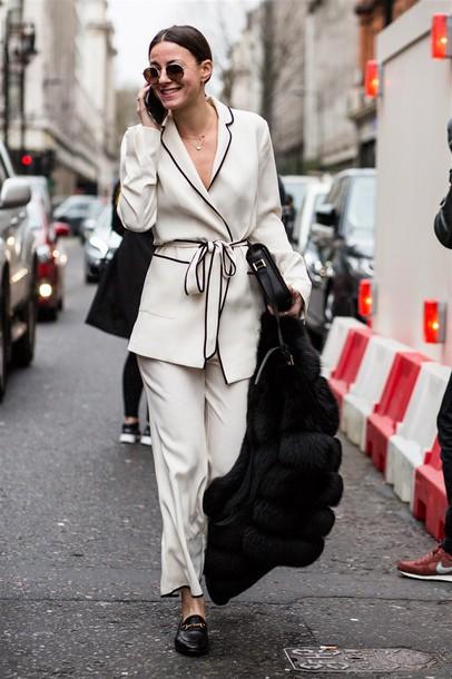 Shirt Tumblr Pajama Style White Shirt Pants White Pants Wide Leg Pants Coat Black Coat