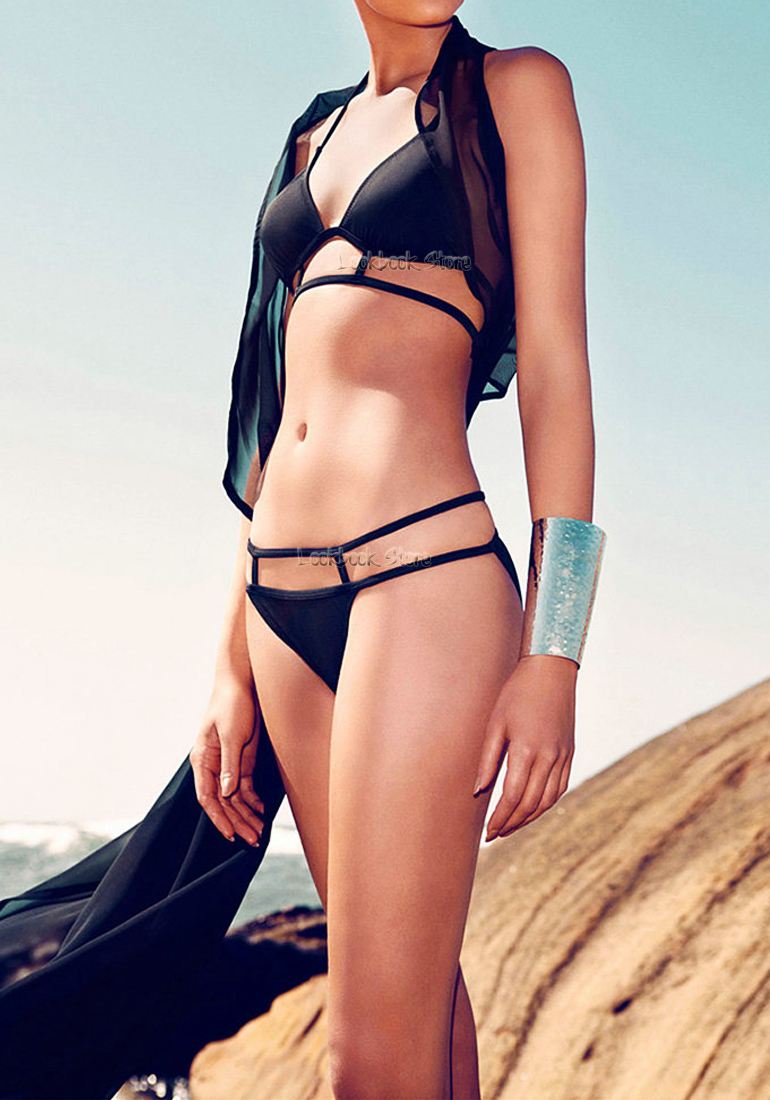 Women Caged Geometric Cutout Padded Bikini Set Bathing Suit Beach Wear Swimwear | eBay
