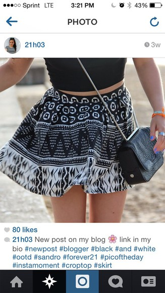 skirt circle skirt forever 21 black and white skirt