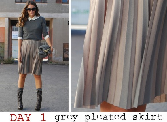 mireia my daily style grey skirt pleated