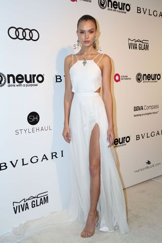 dress white white dress slit dress josephine skriver model off-duty oscars 2017 gown sandals