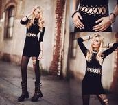 dress,shoes,goth,short,black dress,streetstyle,ripped shorts,black,blonde hair