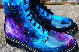 shoes boots galaxy print galaxyboots cute grunge hipster shiny drmartens perfect nebula universe
