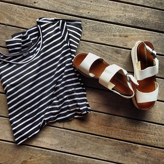 blouse stribes shoes tommy hilfiger summer outfits stripes girly black and white brown white straps sandals shirt striped shirt crop tops b&w