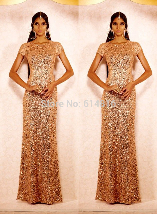Aliexpress.com : Buy Glamour Indian Full Gold Sequined Sheath Short Sleeve Modest Long Evening Dresses Party Gown from Reliable gown silk suppliers on Suzhou Babyonlinedress Co.,Ltd