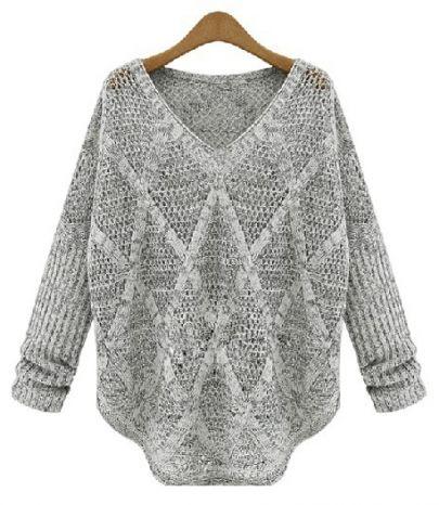 Grey v neck long sleeve diamond knit sweater