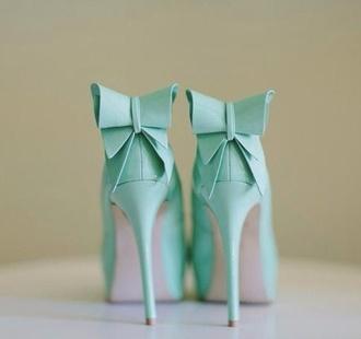 shoes blue high heels bows bow light blue turquoise turquoise pump turquoise heels homecoming long dress sequins one shoulder dress aqua baby blue