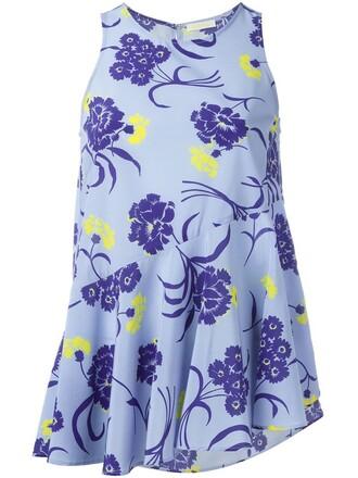 tank top top women spandex floral print blue silk