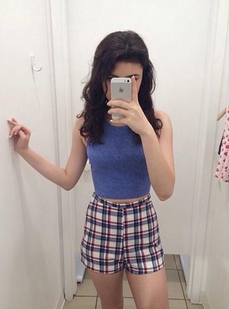 shorts plaid grunge 90s style tartan checkered high waisted crop tops earphones shirt