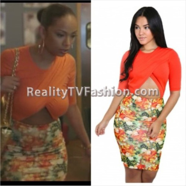 blouse erica mena lhhny orange orange blouse top cute cleavage