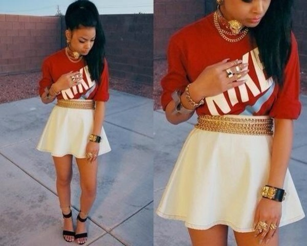 sweater skirt jewels shirt nike skater skirt girly swag jewelry honey cocaine
