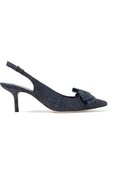 Tory Burch bow embellished pumps navy suede shoes