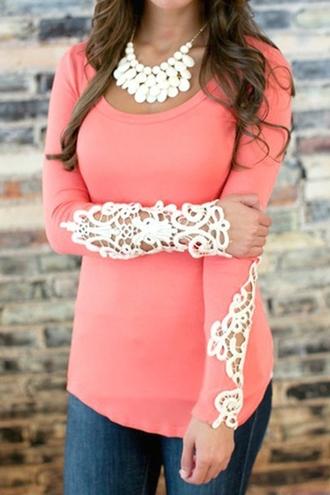t-shirt orange lace white