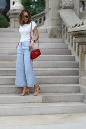 lilly style,blogger,top,pants,shoes,bag,sunglasses,gucci bag,red bag,sandals,summer outfits