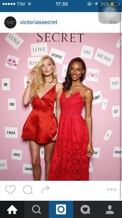 dress,elsa hosk,victoria's secret,victoria's secret model,red dress,red,satin dress,all red wishlist,nightwear,starry night,elegant,clubwear,mini dress,All red outfit