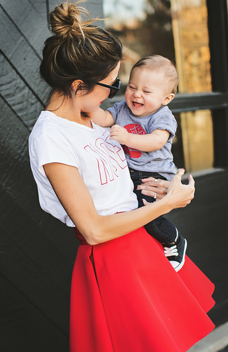 hello fashion blogger skirt skater skirt red white t-shirt kids fashion lifestyle love mother and child t-shirt jewels shoes