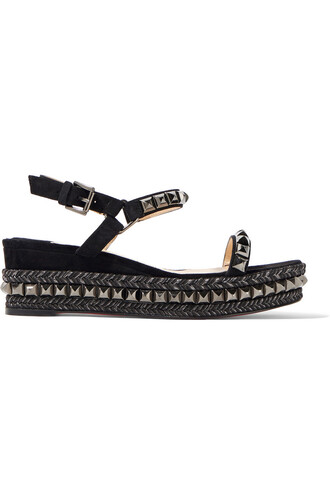 embellished sandals wedge sandals leather suede black shoes