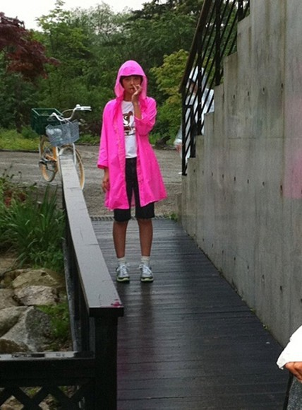 bright pink neon pink coat hot hot pink kacket jacket chinese nose love this raincoat neon pink