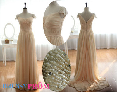Champagne Slight V-neck Evening/Bridesmaid Dresses-Princess Affordable V-neck Pearls Capped Sleeves Modest Bridesmaid/Evening Dresses 8104 · DressyProm · Online Store Powered by Storenvy