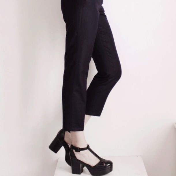 shoes black shoes chunky heels platform