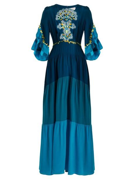Peter Pilotto dress maxi dress maxi lace silk blue