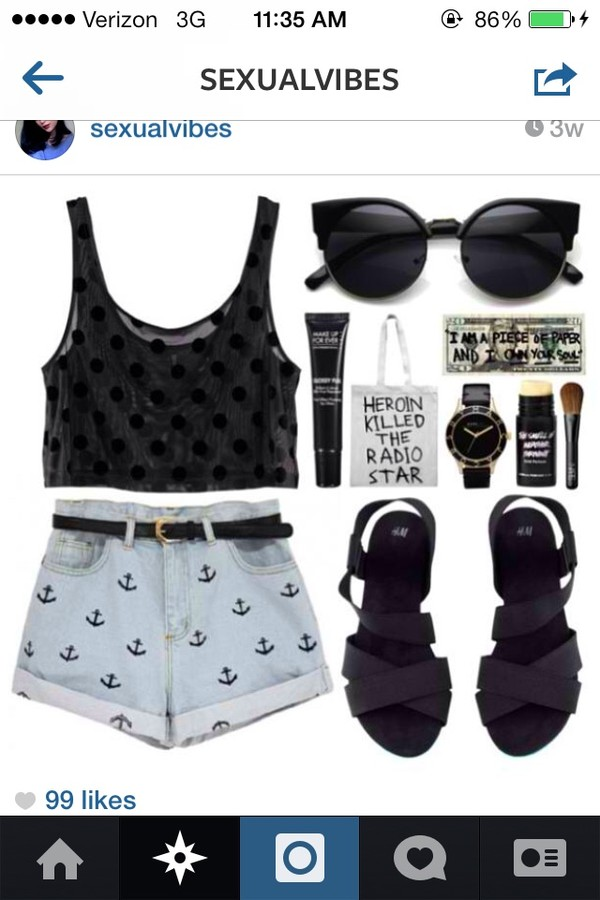 tank top shorts belt bag sunglasses shoes