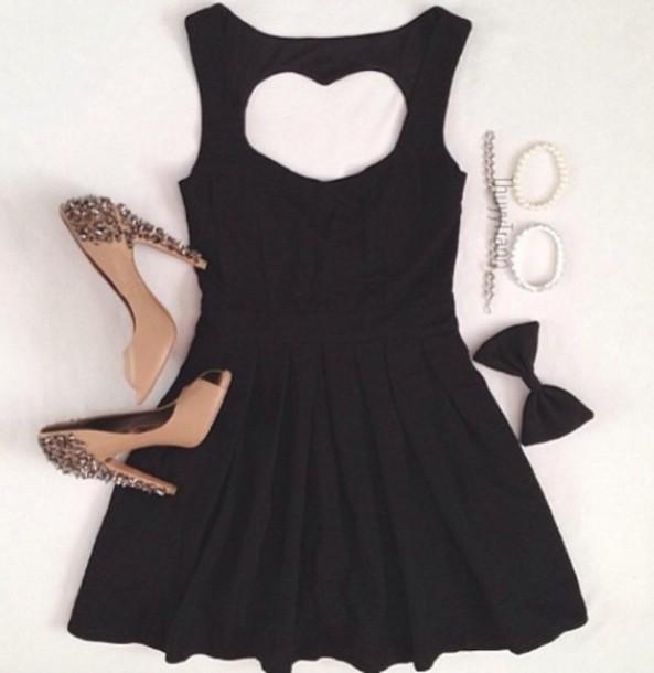 dress black dress heart open back dresses