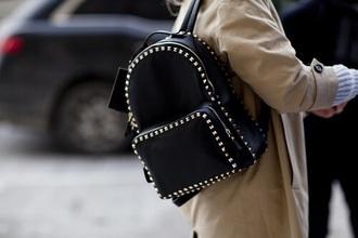 bag black studs leather