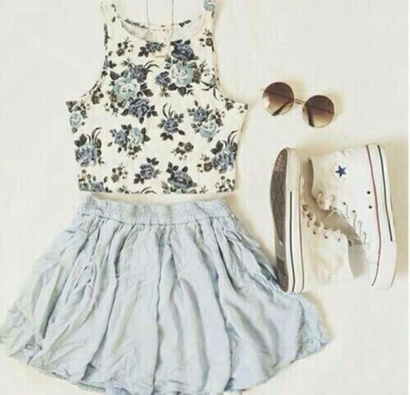 converse blouse floral tank top blue shirt skirt blue skirt jewels top white floral shirt
