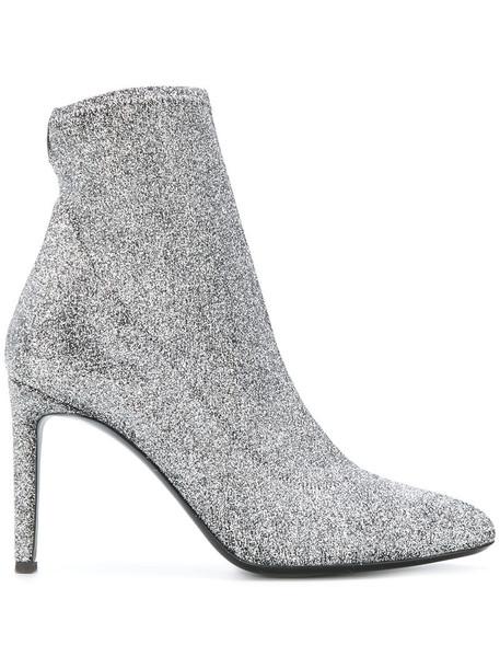 GIUSEPPE ZANOTTI DESIGN glitter women booties leather grey metallic shoes
